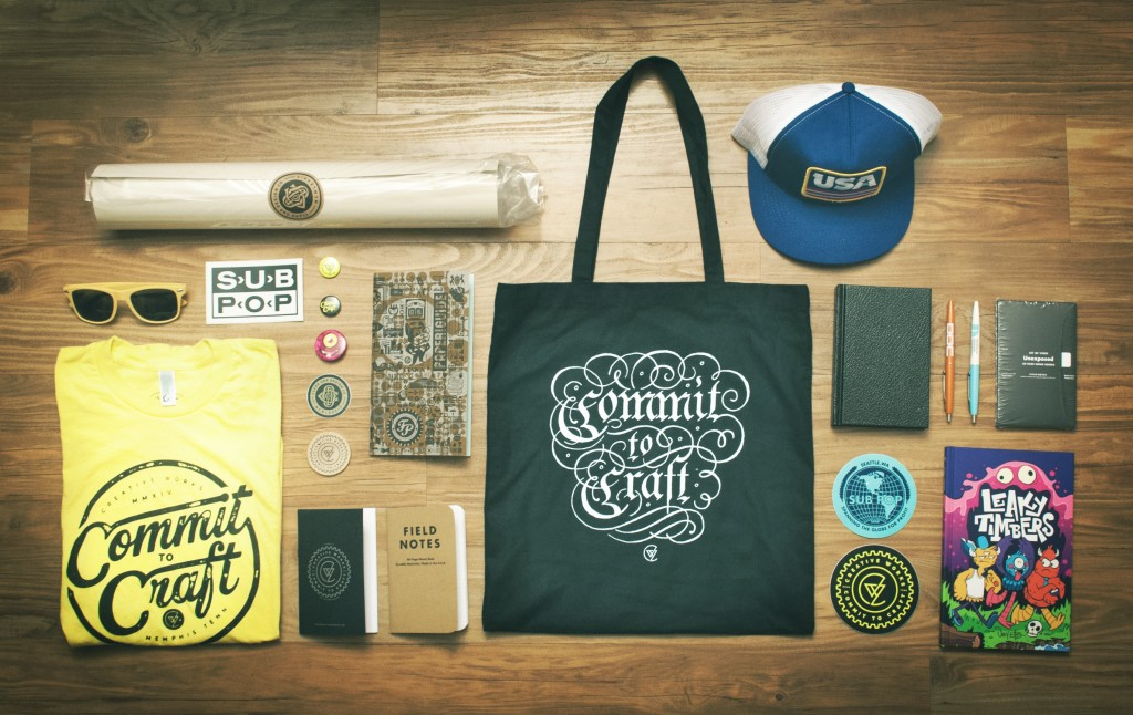 Creative Works Conference attendees had no chance of leaving empty handed. Pictured are items designed and sold by Aaron Draplin, Clark Orr