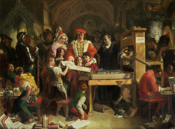 "painting by Daniel Maclise, ""Caxton showing the first specimen of his printing to King Edward IV and Queen Elizabeth at the Almonry, Westminster"""