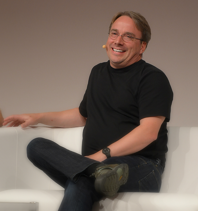 Linus Torvalds speaking at the LinuxCon Europe 2014 in Düsseldorf.