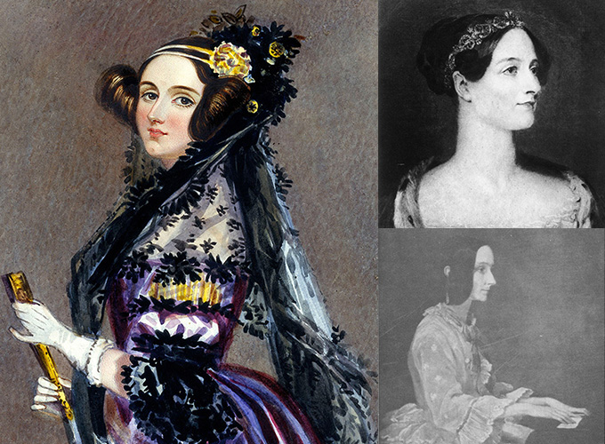 Three images of Ada Lovelace, including the iconic watercolor portrait by Alfreed Edward Chalon (left)